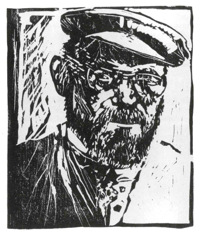 Carl Baumann: Selbstbildnis mit Mütze, 1971